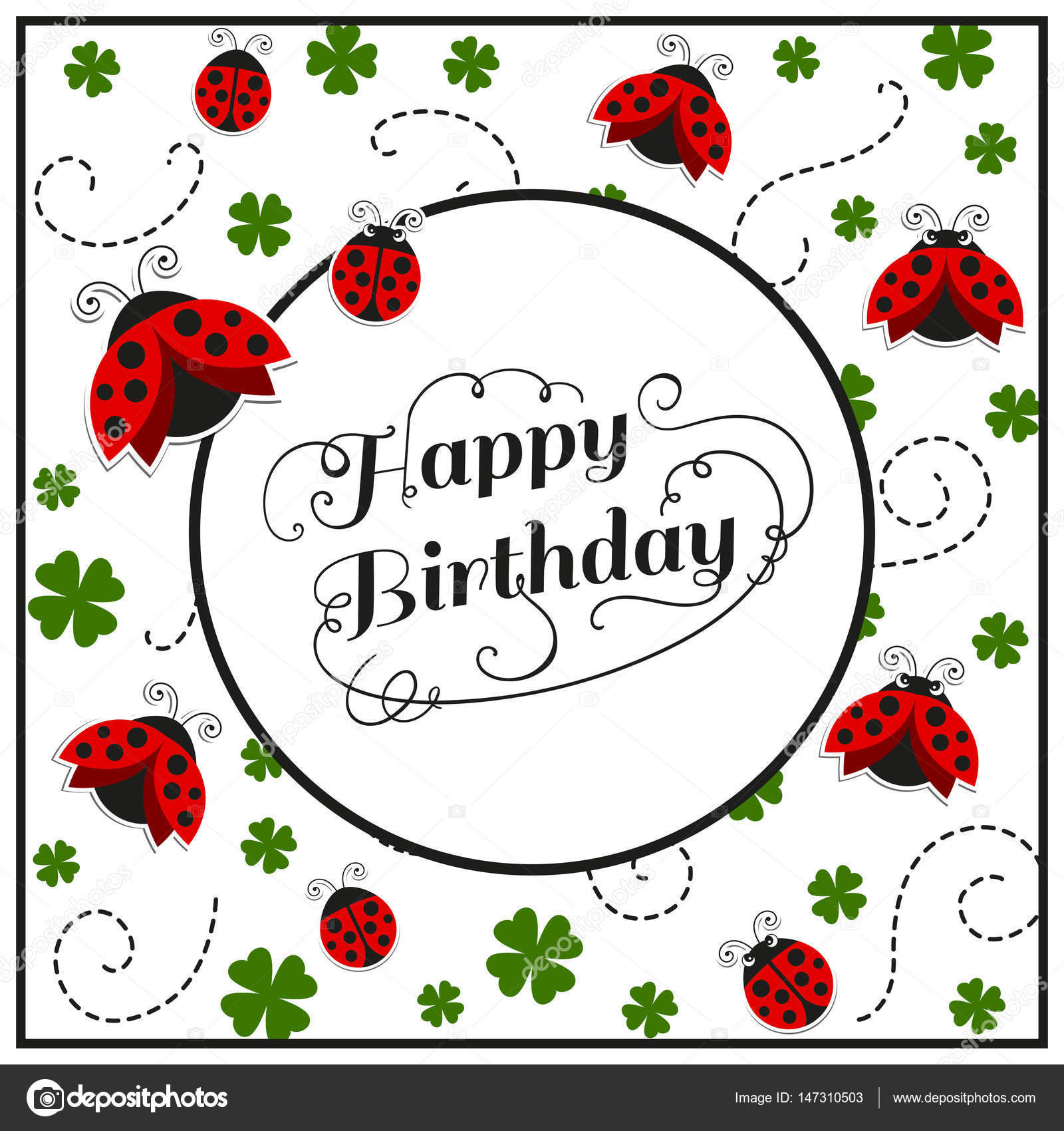 Vector Happy Birthday Greeting Card With Ladybugs Stock Vector