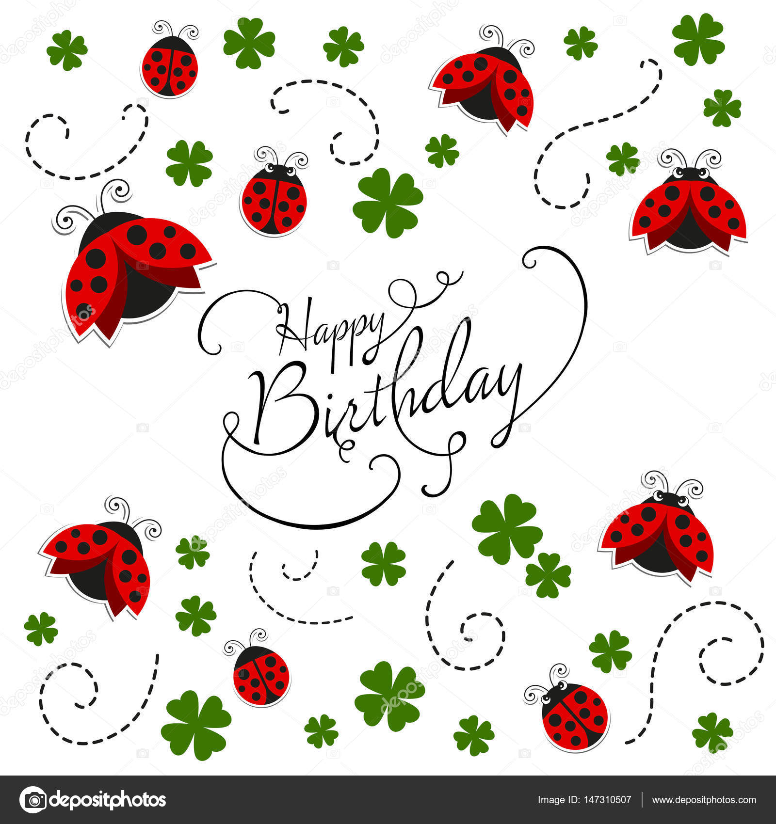 Vector happy birthday greeting card with ladybugs stock vector vector happy birthday greeting card with ladybugs stock vector stopboris Image collections
