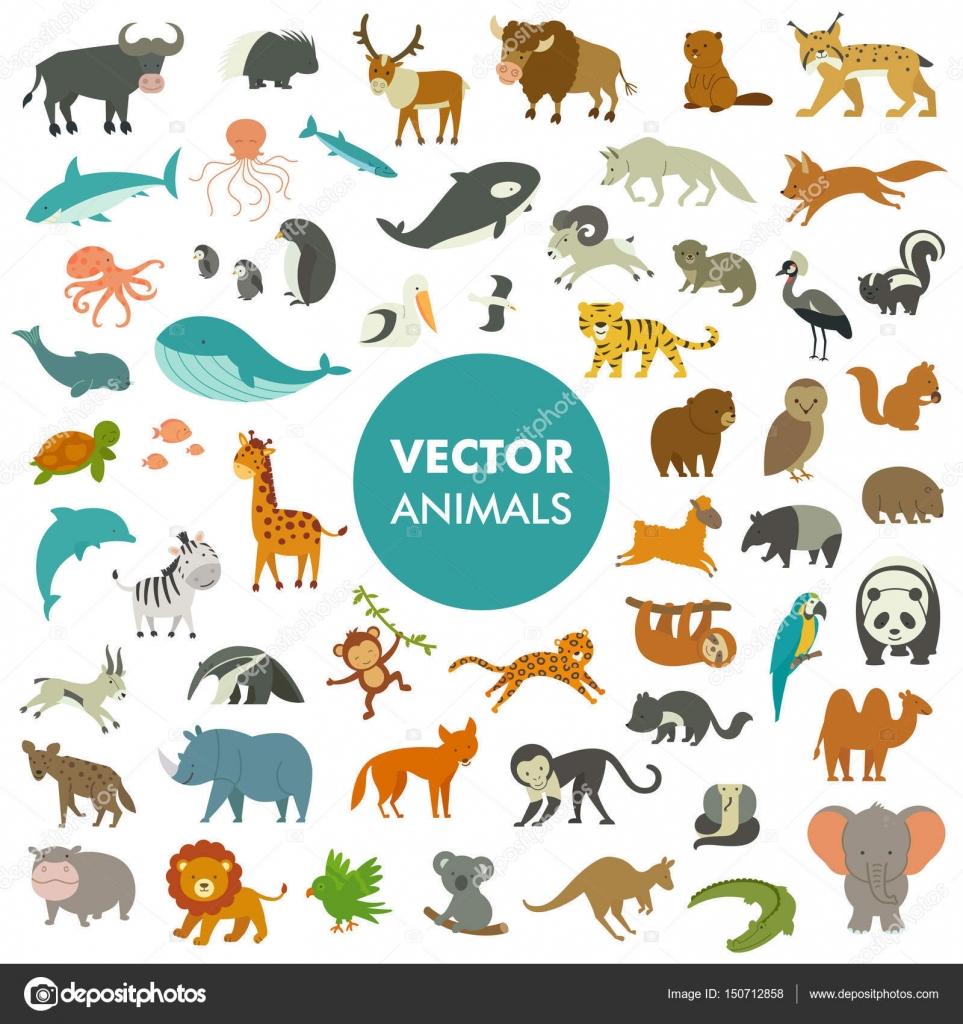 簡単な漫画の動物アイコンのベクトル イラスト — ストックベクター