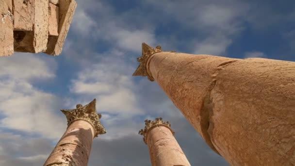 Roman Columns in the Jordanian city of Jerash (Gerasa of Antiquity), capital and largest city of Jerash Governorate, Jordan