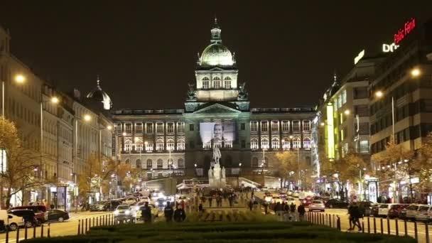 Noční pohled z Václavského náměstí v nové Townofprague, Česká republika
