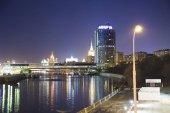 Éjszakai kilátás a torony 2000, Moszkva nemzetközi üzleti központ (város). Oroszország