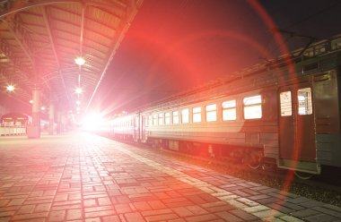 Train on Moscow passenger platform (Savelovsky railway station), Russia (at night)
