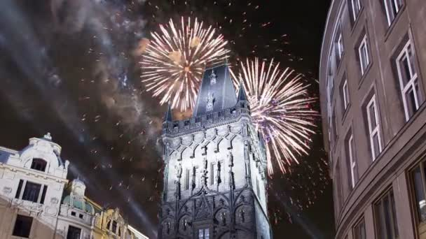 Powder Tower Gate And Holiday Fireworks In Pragueczech Republic