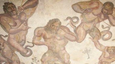 SICILY, ITALY- MAY, 03 2011: Mosaic fragment Roman Villa Romana del Casale, Sicily, UNESCO World Heritage Site (Ken burns effect)