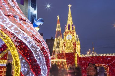 MOSCOW, RUSSIA - JANUARY 05, 2018:  Christmas (New Year holidays) decoration on the area of the Kiyevskaya (Kiyevsky ) Railway Station at night, Moscow, Russia