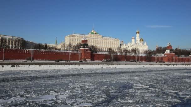 Moskova Nehri ve Kremlin (kış günü), Moskova, Rusya - Moskova'nın en popüler görünümü görünümü