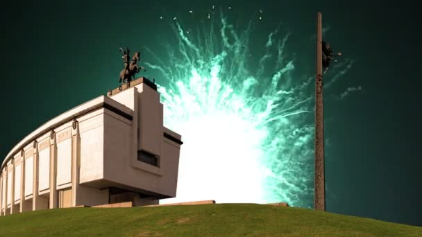 Fireworks over the War memorial in Victory Park on Poklonnaya Hill (Gora), Moscow, Russia