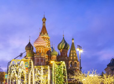 Saint Basil cathedral ( Temple of Basil the Blessed) and Christmas (New Year holidays) decoration, Red Square, Moscow, Russia (at night). Journey to Christmas, Moscow seasons