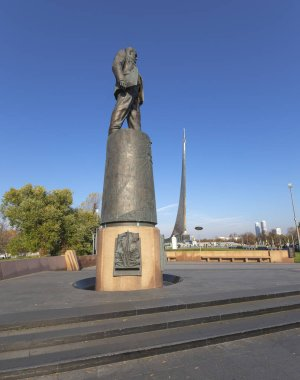 MOSCOW, RUSSIA - OCTOBER, 17 2019: Conquerors of Space Monument in the park outdoors of Cosmonautics museum, near VDNK exhibition center, Moscow, Russia