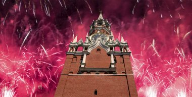 The Spasskaya Tower and fireworks in honor of Victory Day celebration (WWII),  Red Square, Moscow, Russia