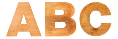 Old wooden letters ABC
