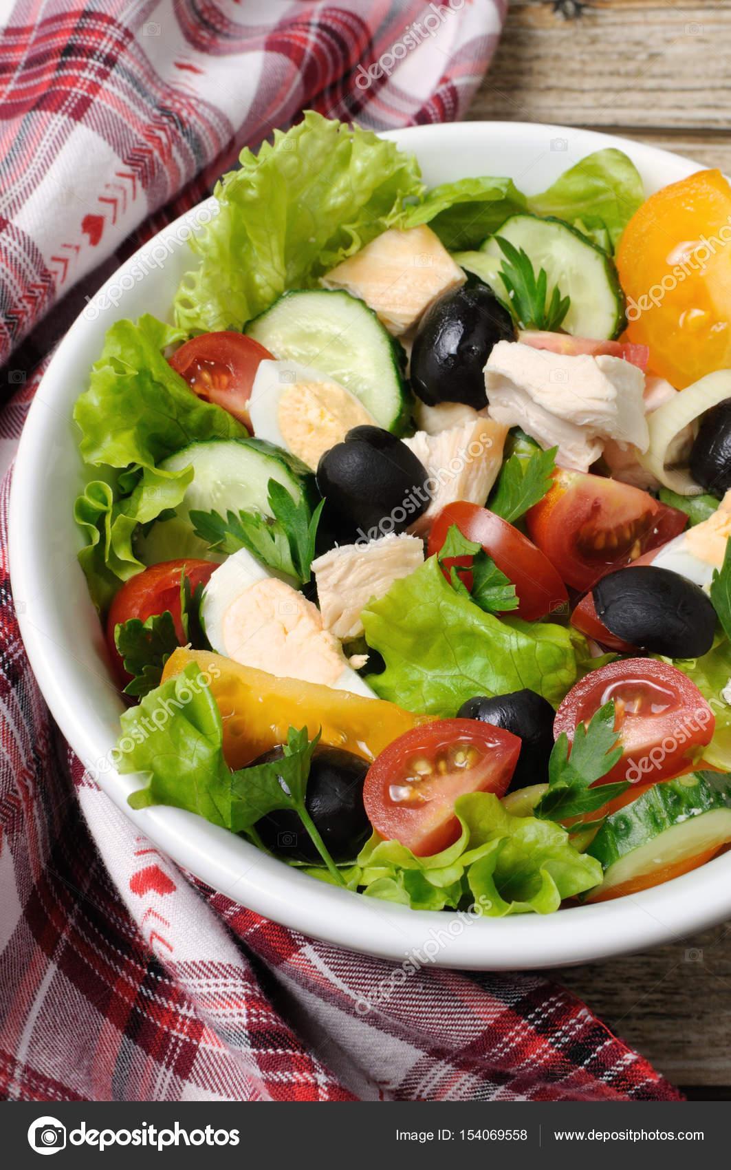 groente salade met kip