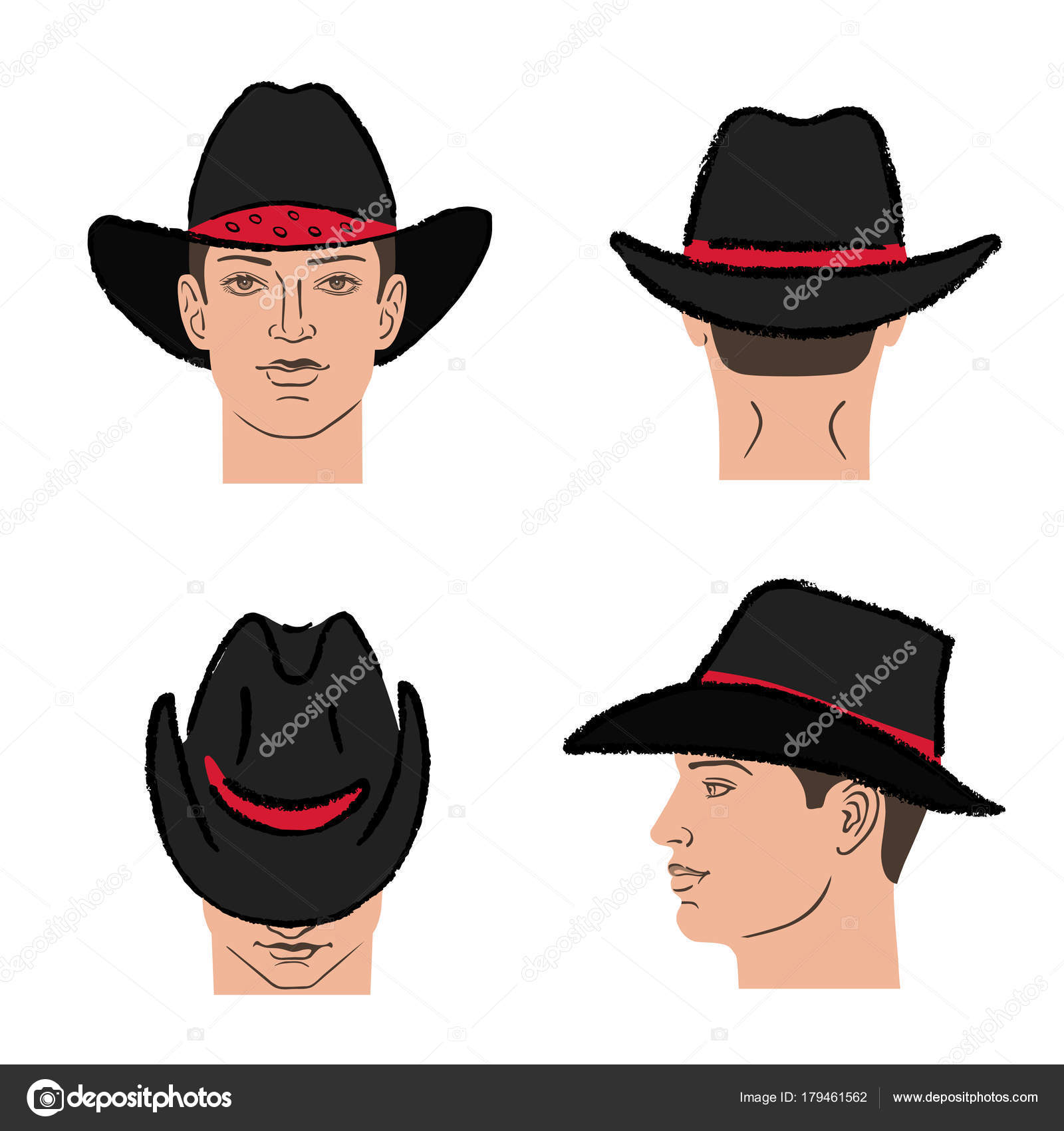 Cowboy Hat Outlined Oil Pastel Template Sketch Front Back Side Views And Man Head Vector Illustration Isolated On White Background By Arlatis