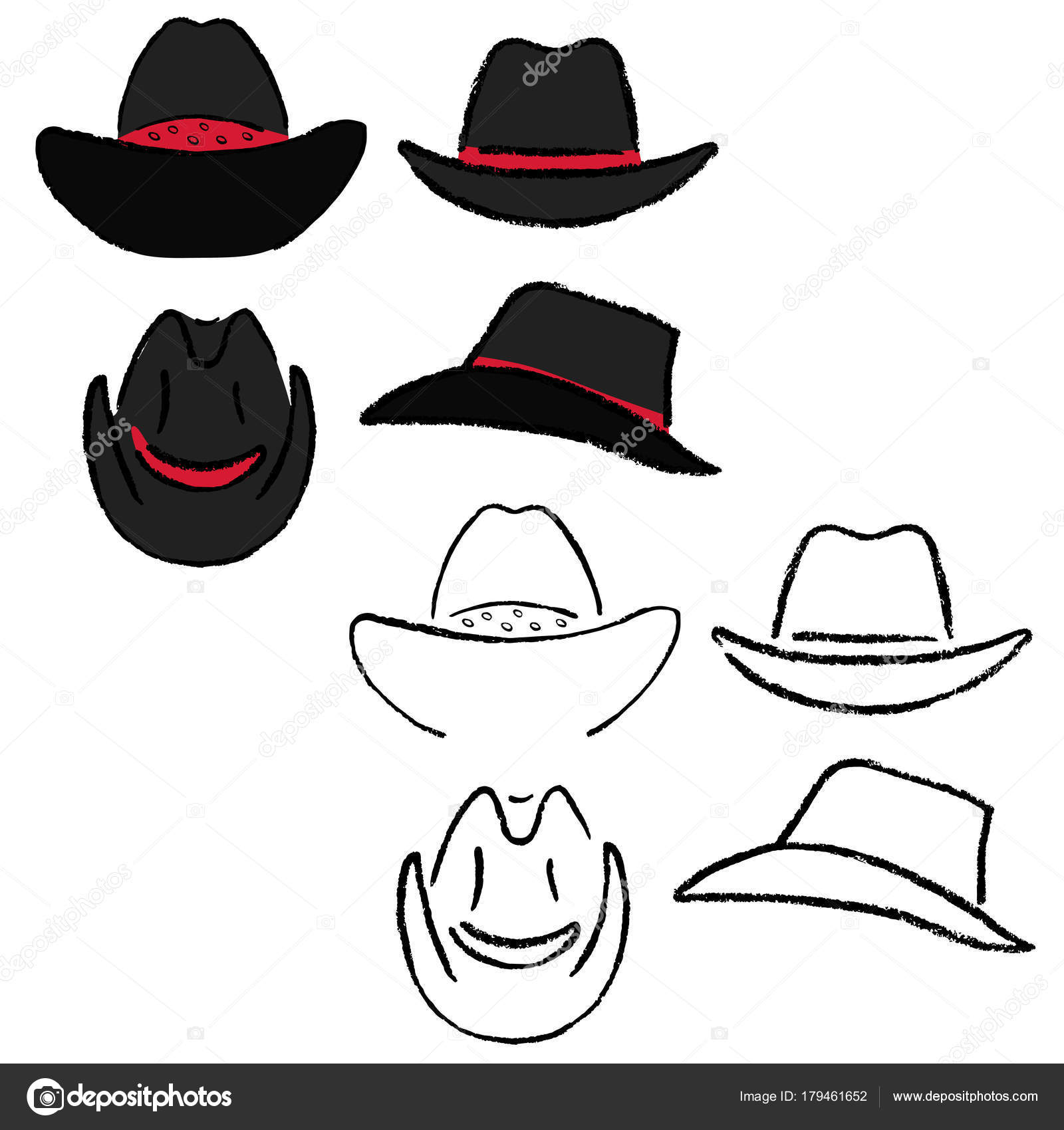 Cowboy Hat Outlined Oil Pastel Template Sketch Front Back Side Views Vector Illustration Isolated On White Background By Arlatis