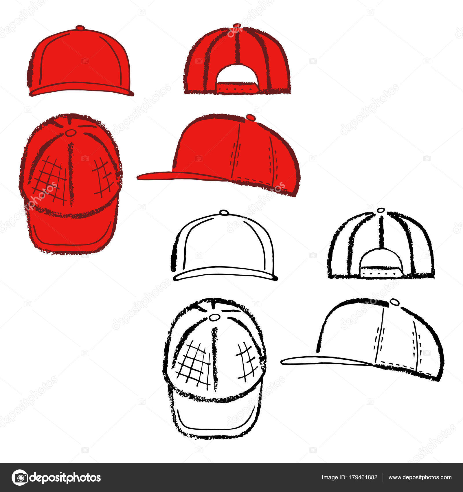 992352f3 Baseball, tennis, rap cap outlined oil pastel template sketch (front, back  and side views), vector illustration isolated on white background — Vector  by ...