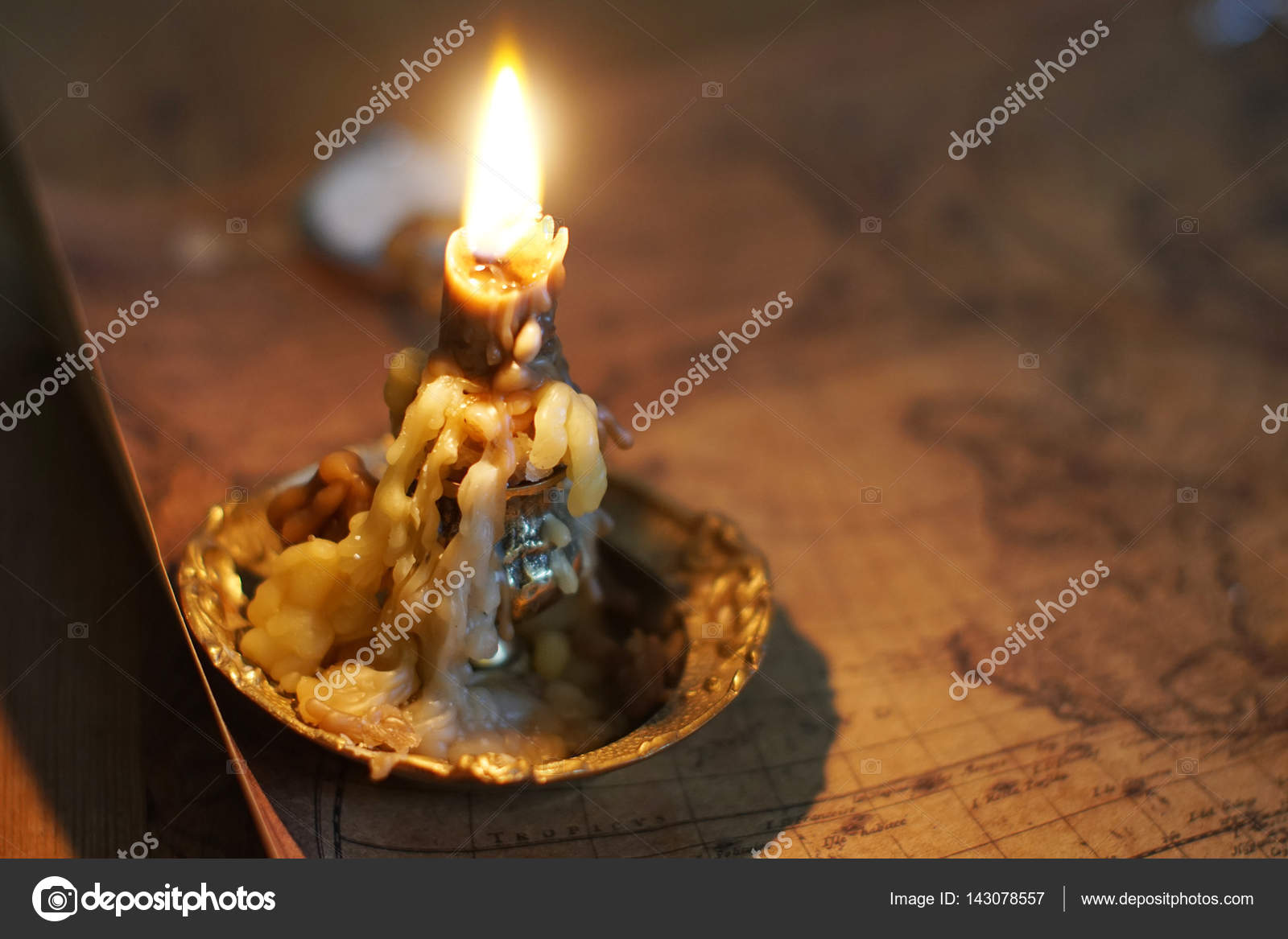 Candle Lie On Old Ancient Map U2014 Stock Photo