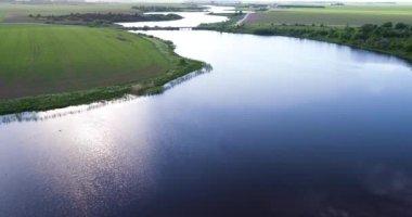 River at morning Birds eye view