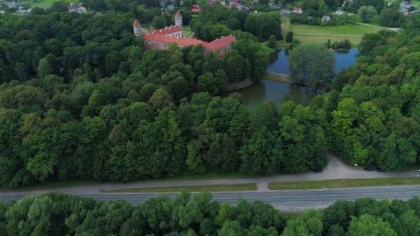 Flug über altes Schloss im grünen Wald