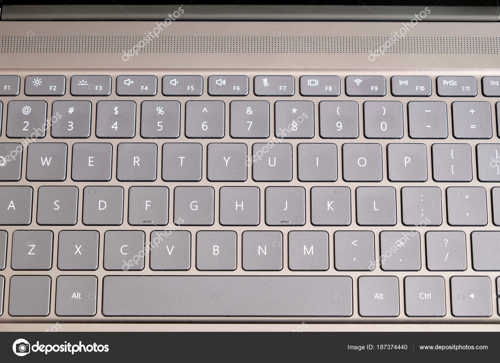 Opened Modern Laptop Keyboard Usa Alphabet Keys Front Top