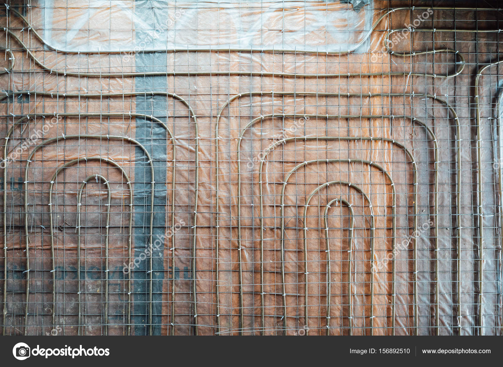 tubos de calefacción por suelo radiante instalación, vista superior ...