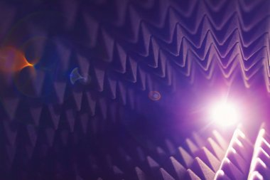 acoustic foam pyramid abstract background with glow light