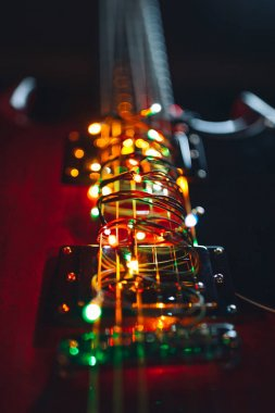 abstract guitar with festive Christmas lights