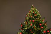 Vánoční stromeček s dekoracemi a světly, evropský vánoční trh v noci