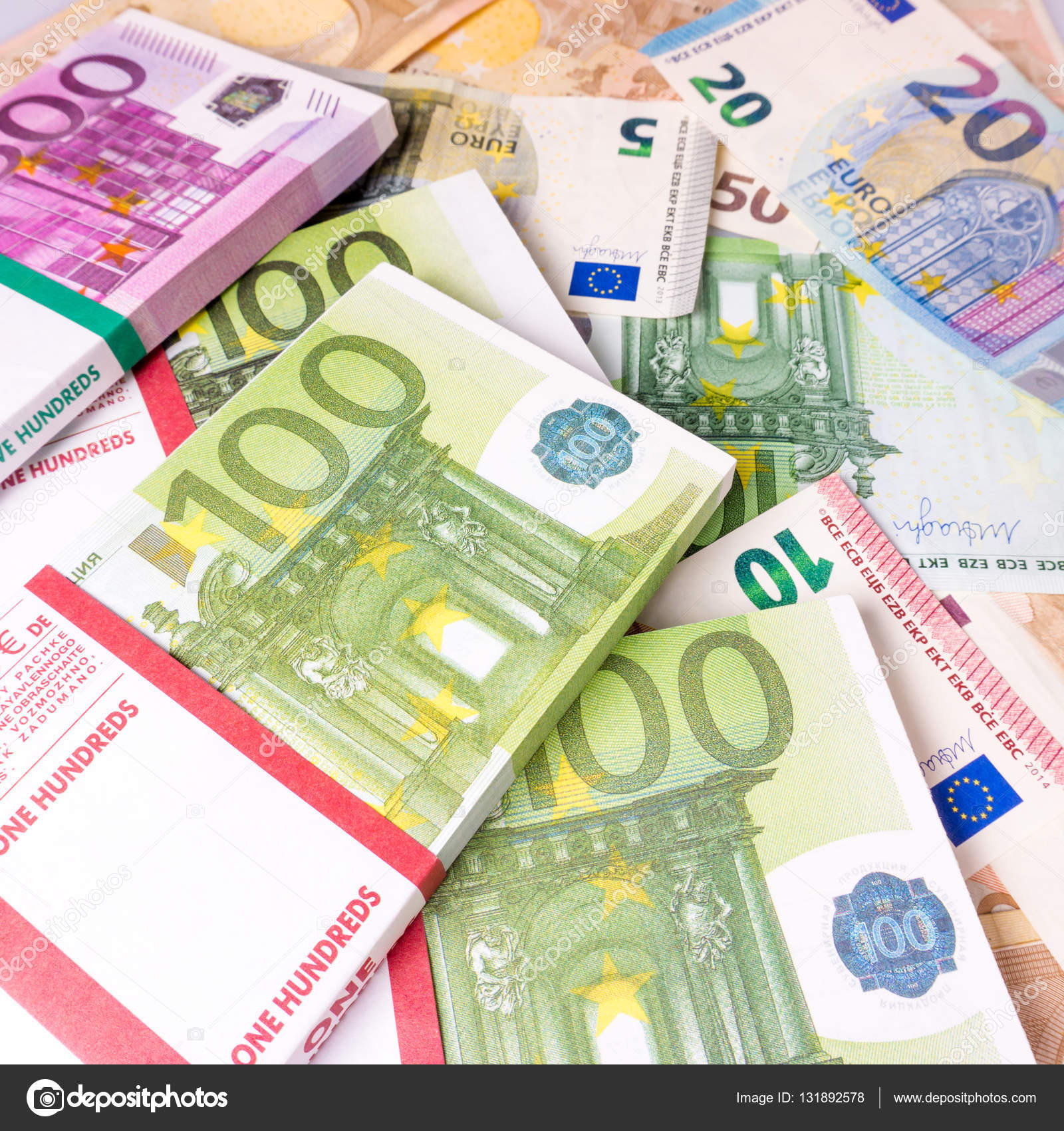 euro money banknotes euros money stack background with euro m