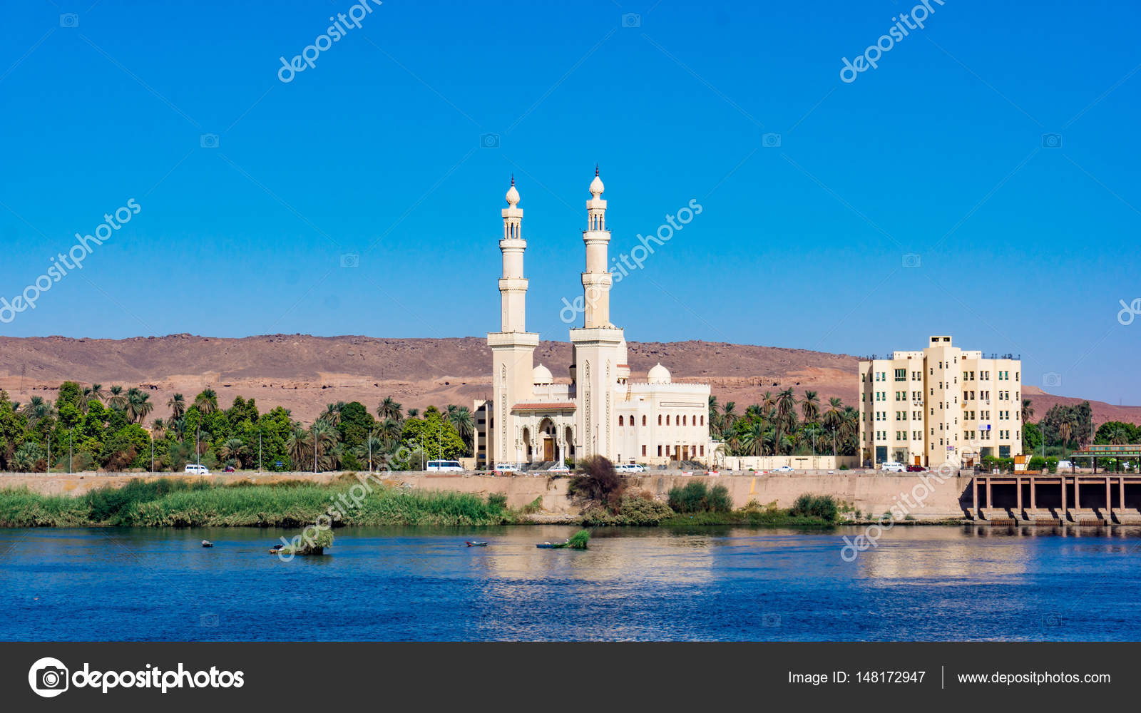 the el-tabia mosque in aswan, egypt. egyptian mosque minarets. a