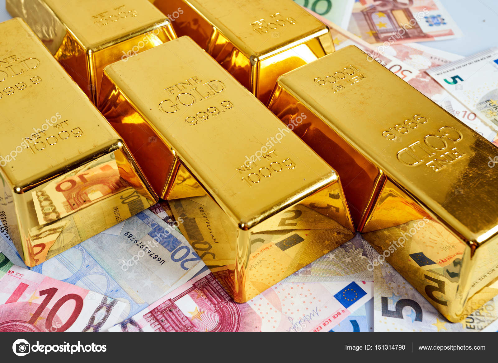 Gold Bar Concept Finance Background With Money Euro Eur Stock Photo
