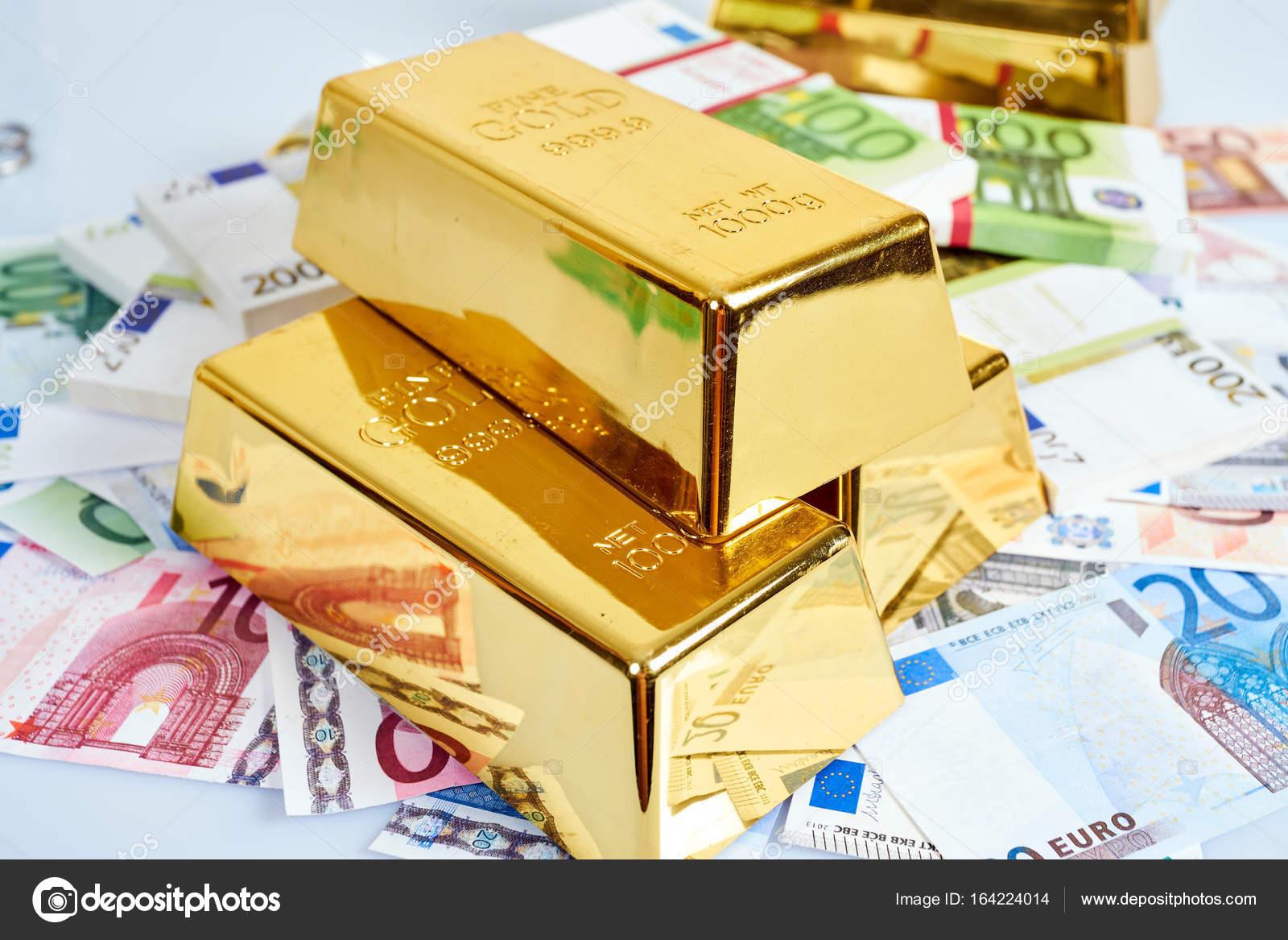 Gold Bar And Euro Money Financial Concept Stock Photo