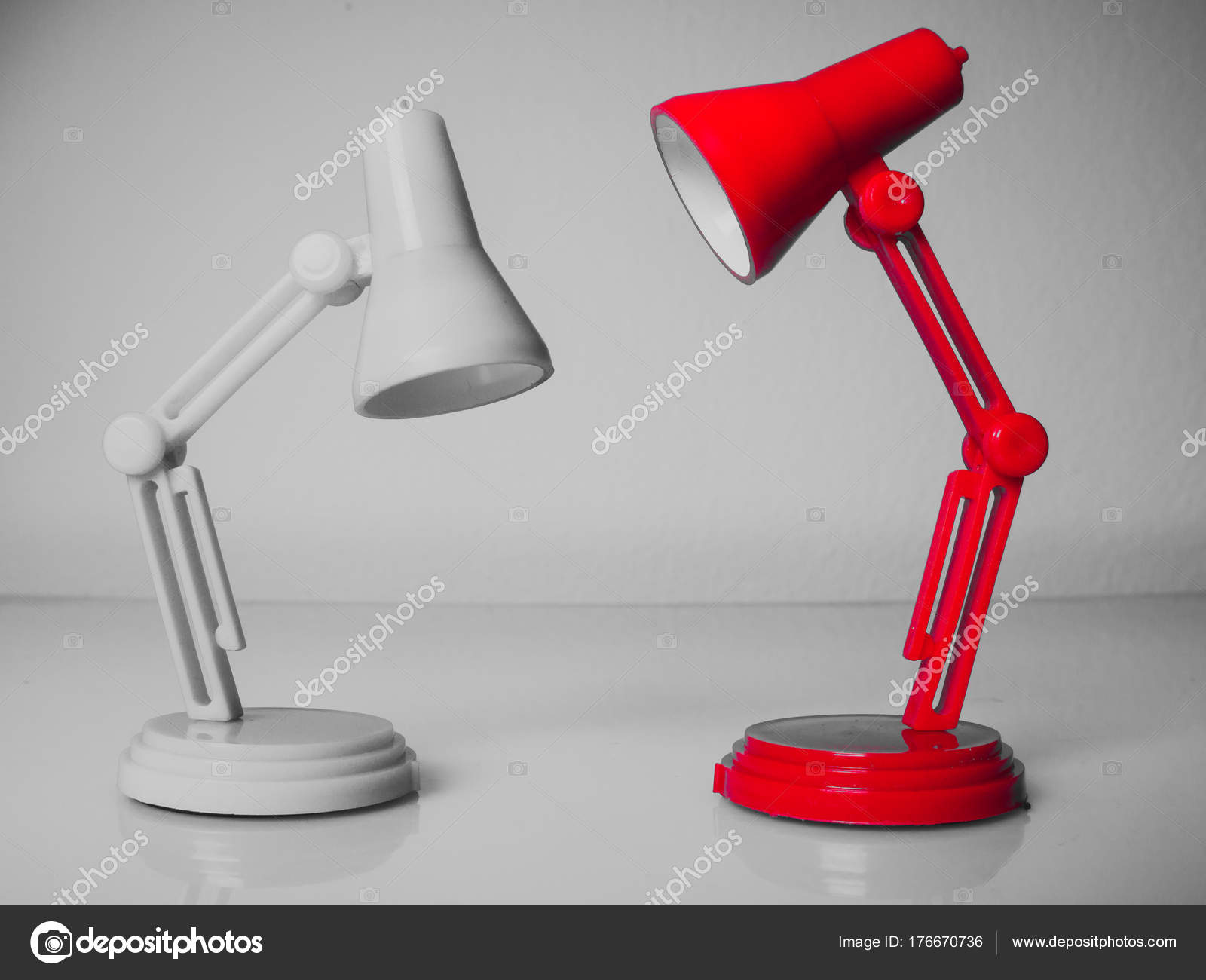 Two Table Lamps Vintage Red Desk Lamp Stock Photo