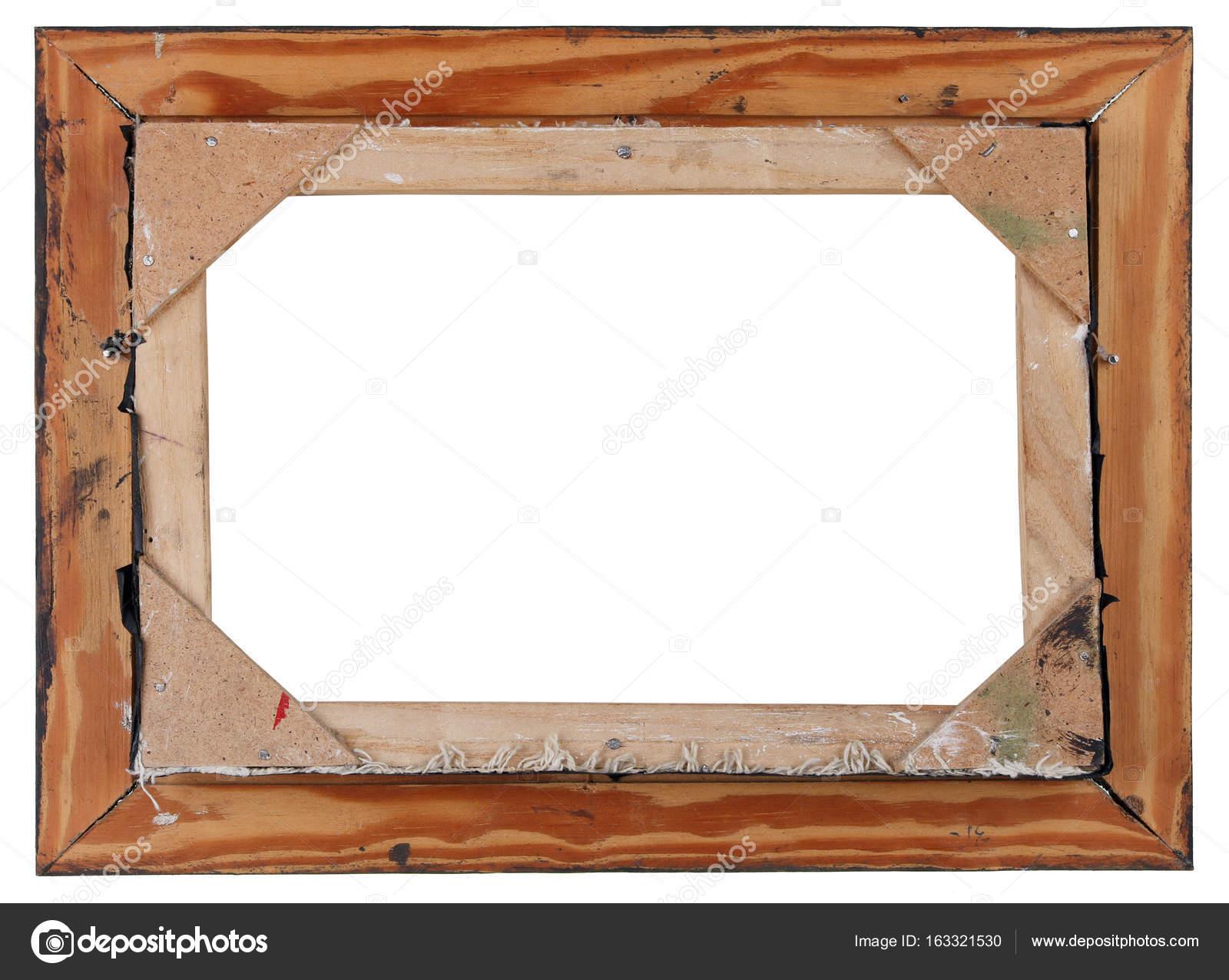 Aislado de la parte posterior del antiguo marco de madera retro ...