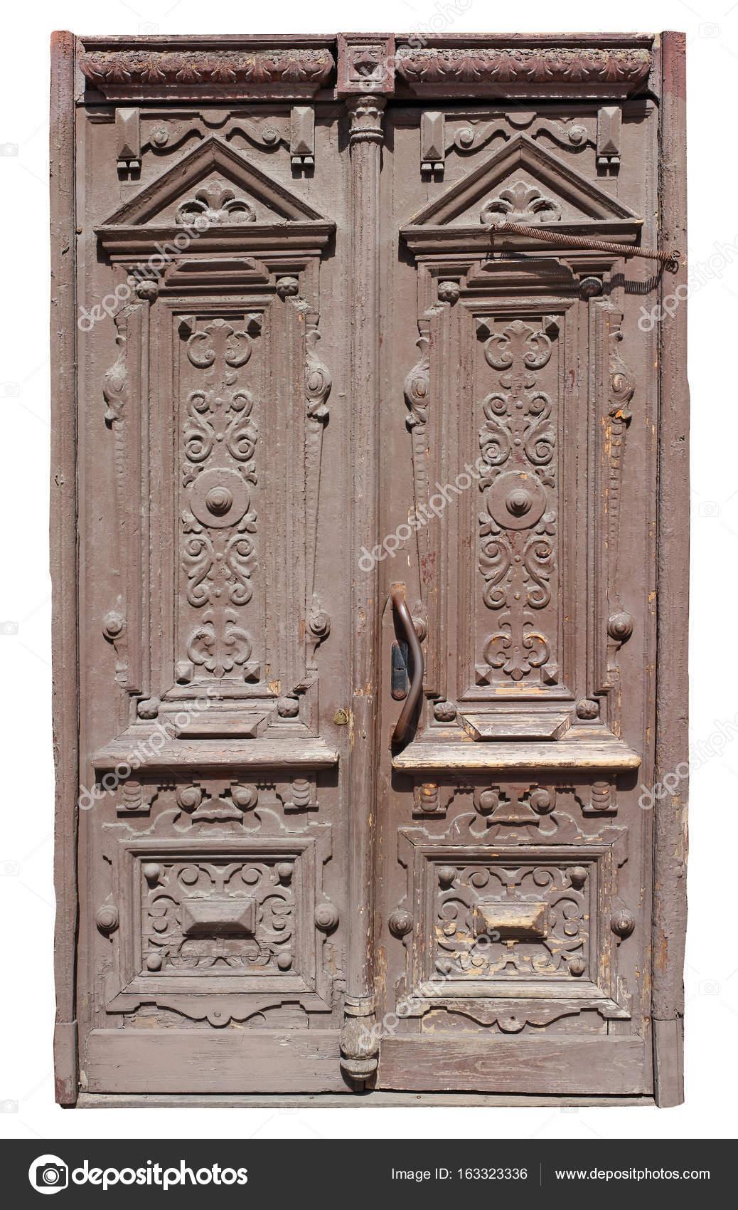 Una Puerta De Madera Arcaica Muy Antigua Pintada Marron Fotos De