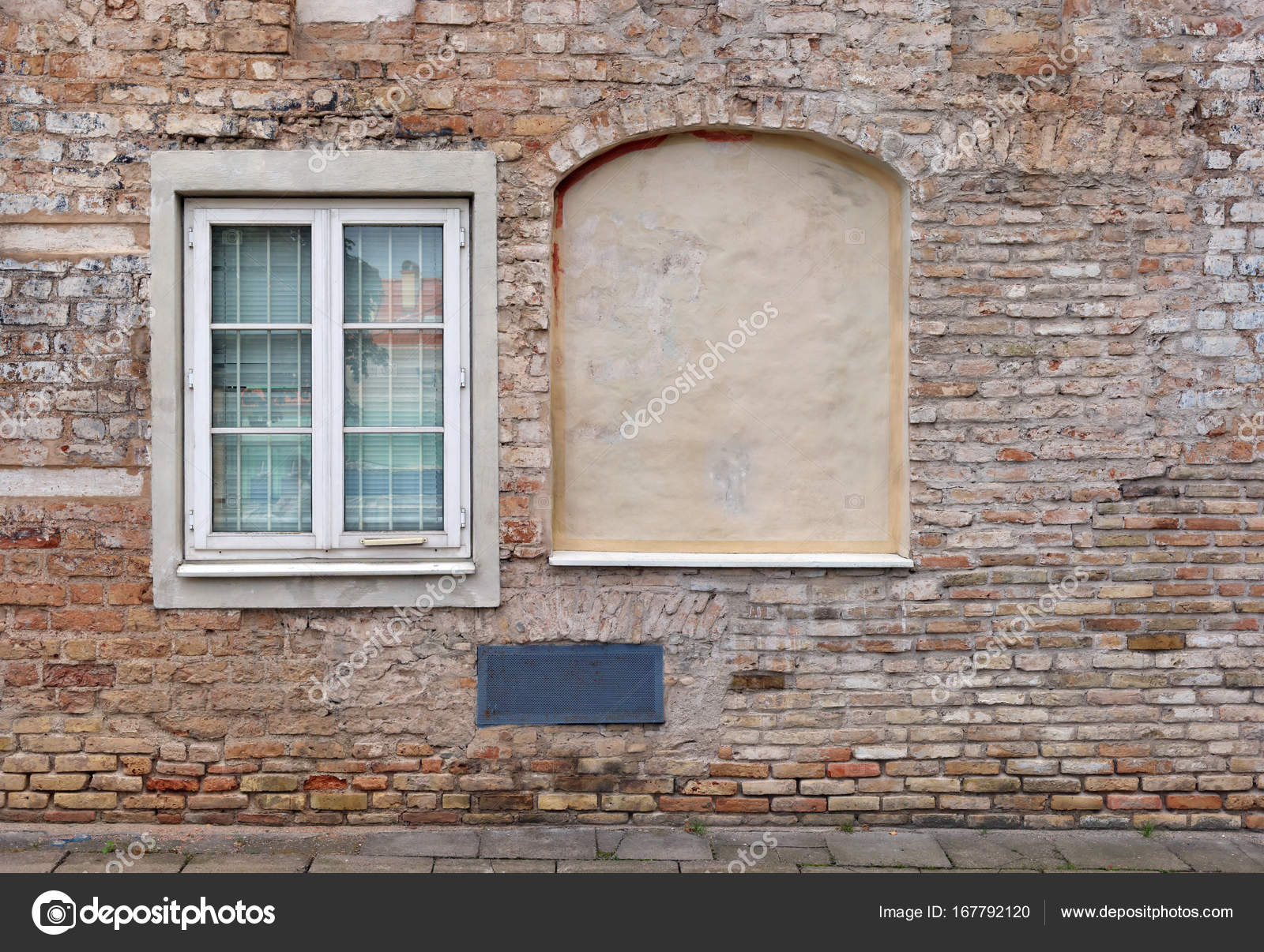 Blind curved basement windows in the old aged red bricks house. Outdoor background u2014 Photo by vilaxlt & Blind curved basement windows in the old aged red bricks house ...