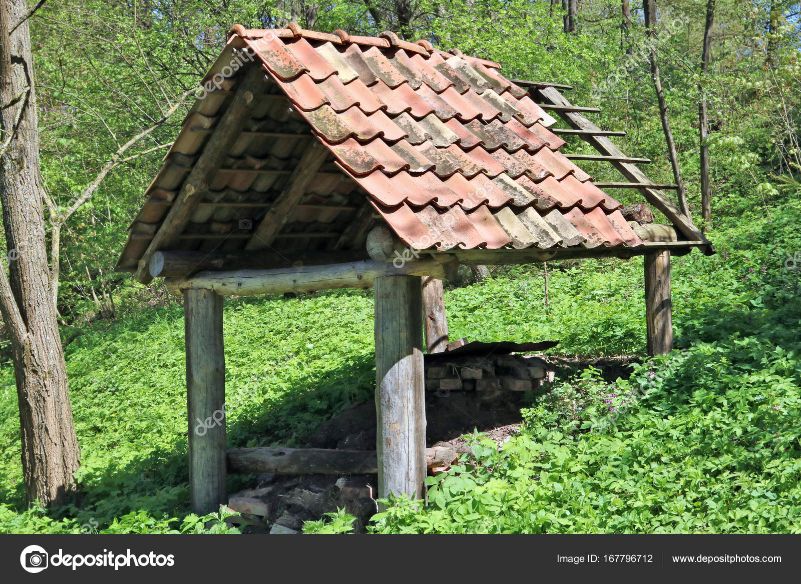 A Shed Without Walls For Storage Of Firewood Is Located On The Slope Of A Forest  Hill. Spring Sunny Day U2014 Photo By Vilaxlt