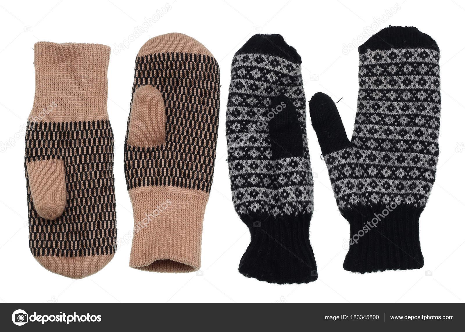 Pletené teplé zimní použité Dámské rukavice venkovském stylu — Stock ... c56716016a