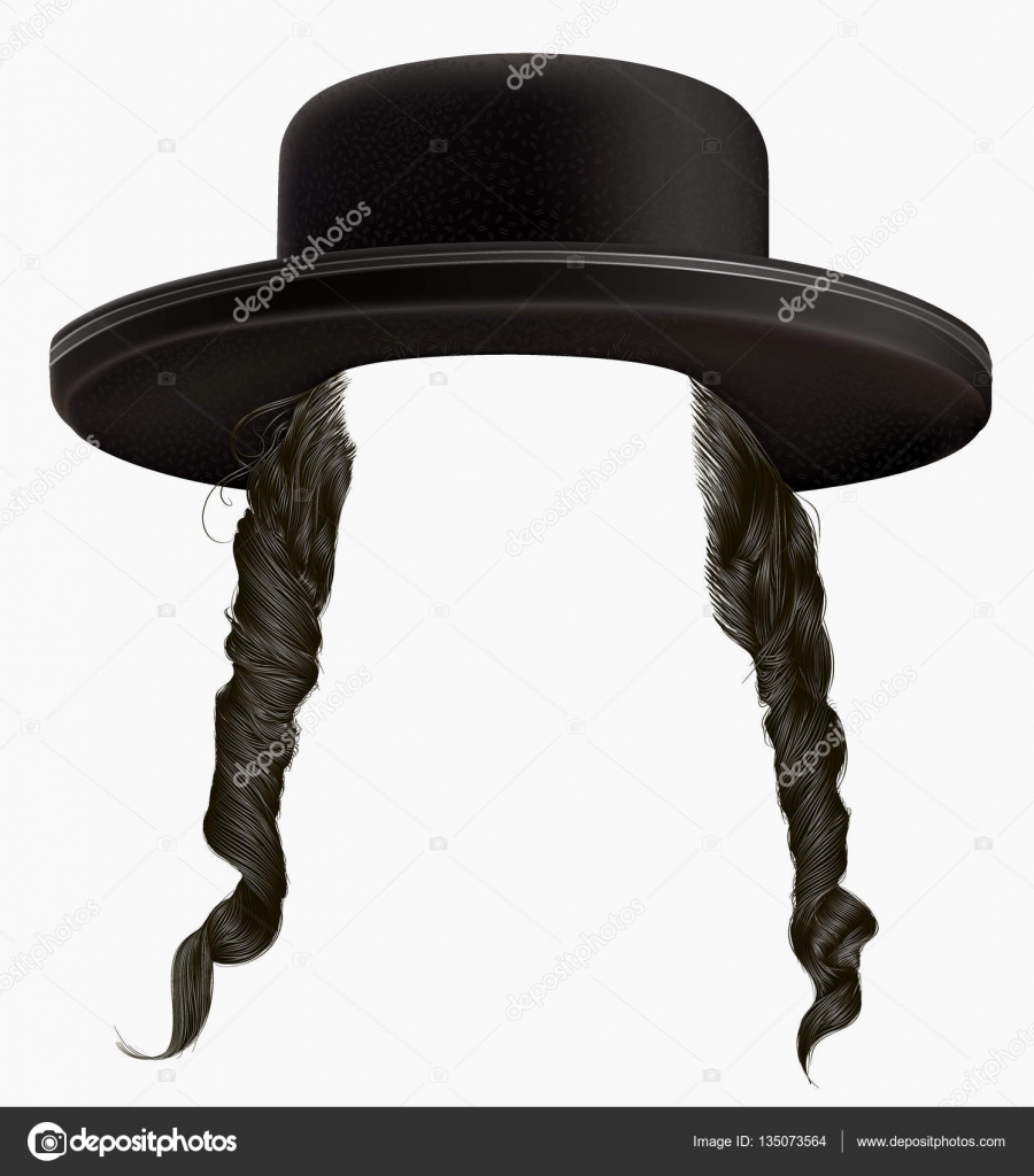 Black Hair Sidelocks Mask Wig Jew Hassid In Hat