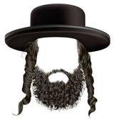 fekete haja sidelocks szakáll. maszk paróka zsidó hassid, a hat .