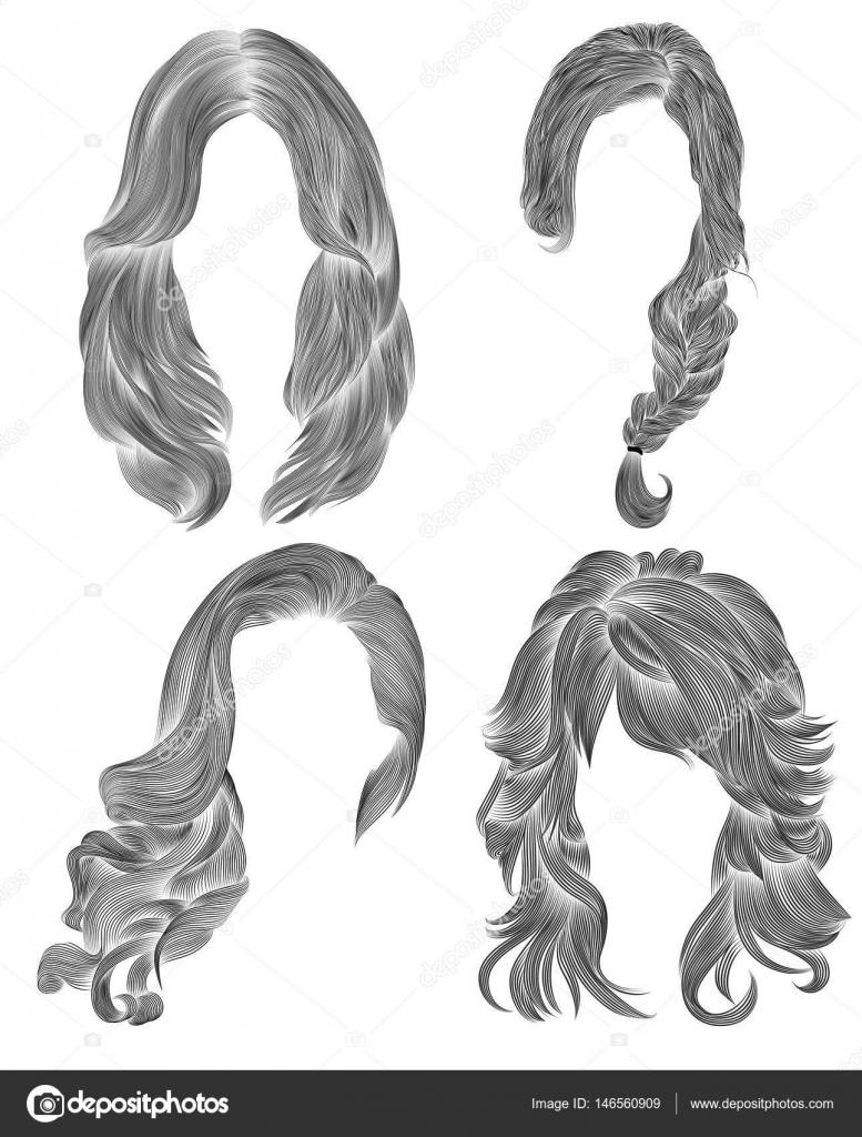 Zestaw Włosy Kobieta Rysunek Szkic Ołówkiem Czarny Retro Hairstyle