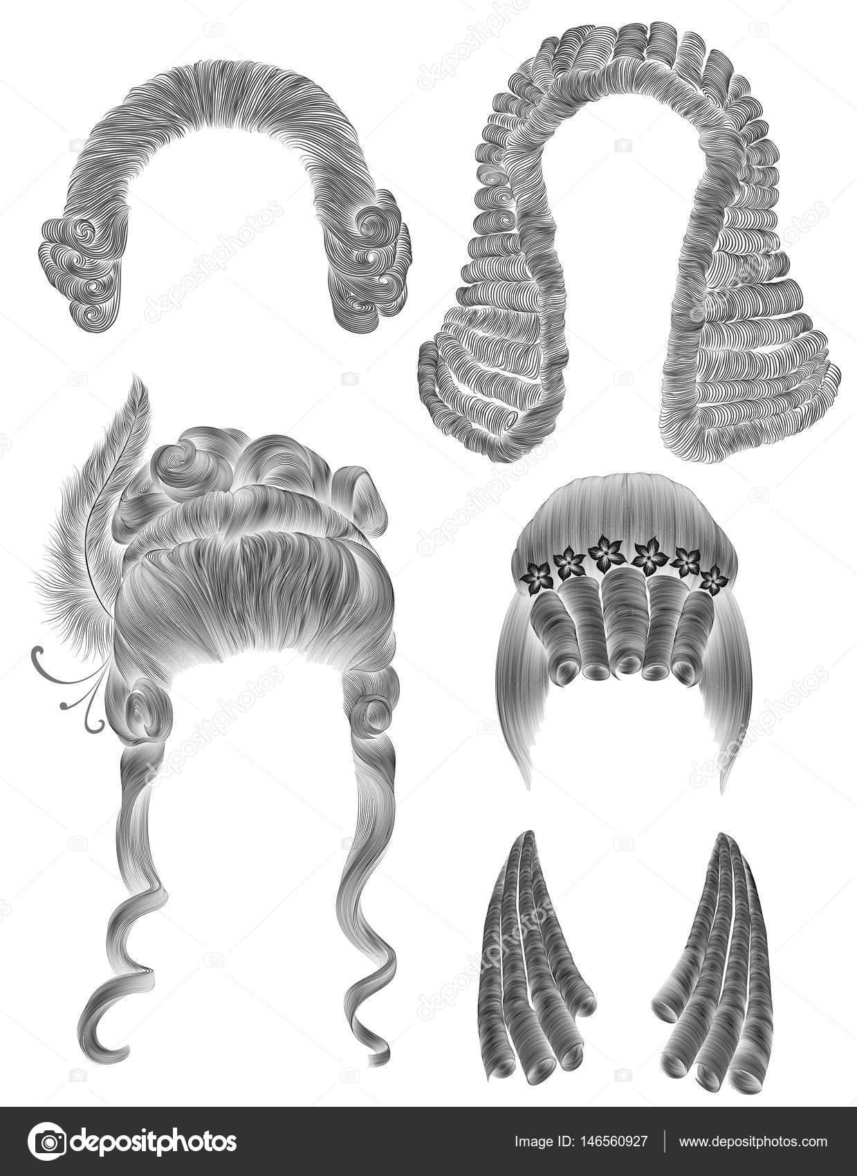 Frau Und Mann Haare Einstellen Schwarzer Bleistift Zeichnung Skizze