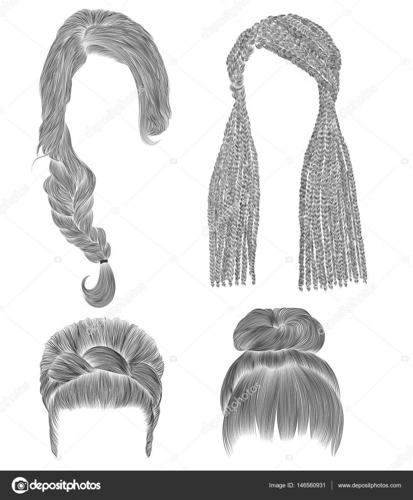 Set woman hairs black pencil drawing sketch bun babette with fringe hairstyle women fashion beauty style african cornrows vector by ktoytor
