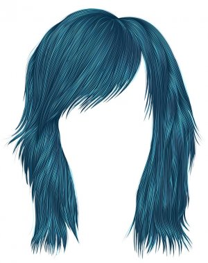 trendy  woman  hairs blue color . medium length . beauty style .