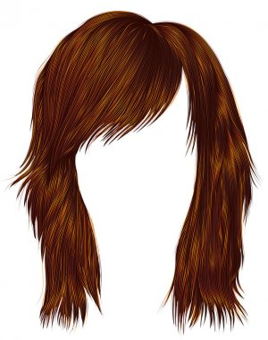 trendy  woman  hairs Red Ginger color . medium length .  beauty fashion style .
