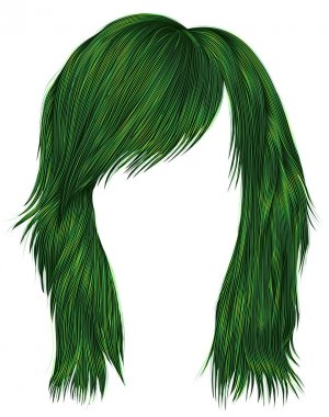 trendy  woman  hairs  green   color . medium length . beauty fashion style .
