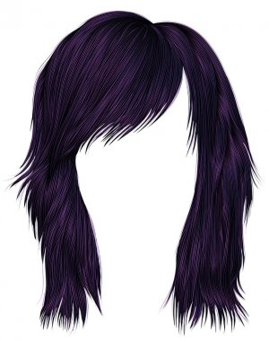 trendy  woman  hairs purple color . medium length . beauty style