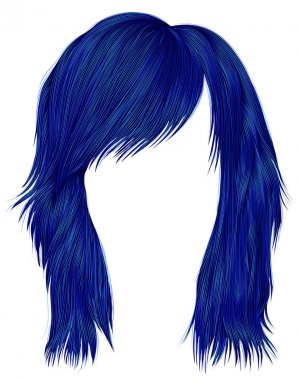 trendy  woman  hairs dark blue color . medium length .  beauty fashion style .
