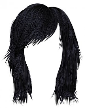 trendy  woman  hairs brunette black  color . medium length .  beauty fashion style .