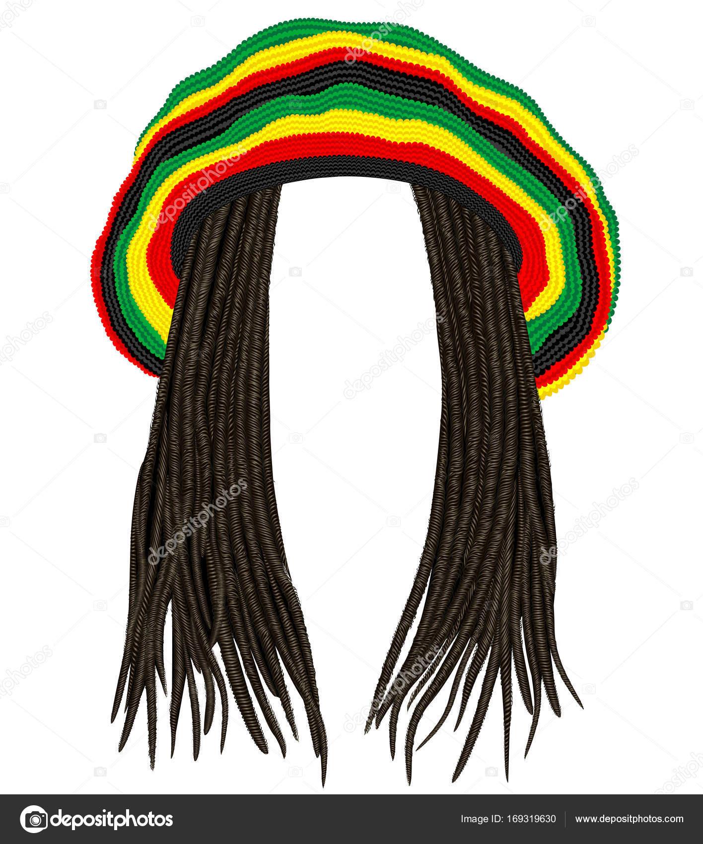 Jamajský rasta čepice. Vlasy dreadlocks.reggae legračně avata — Vektor od  ... 438ddcb833